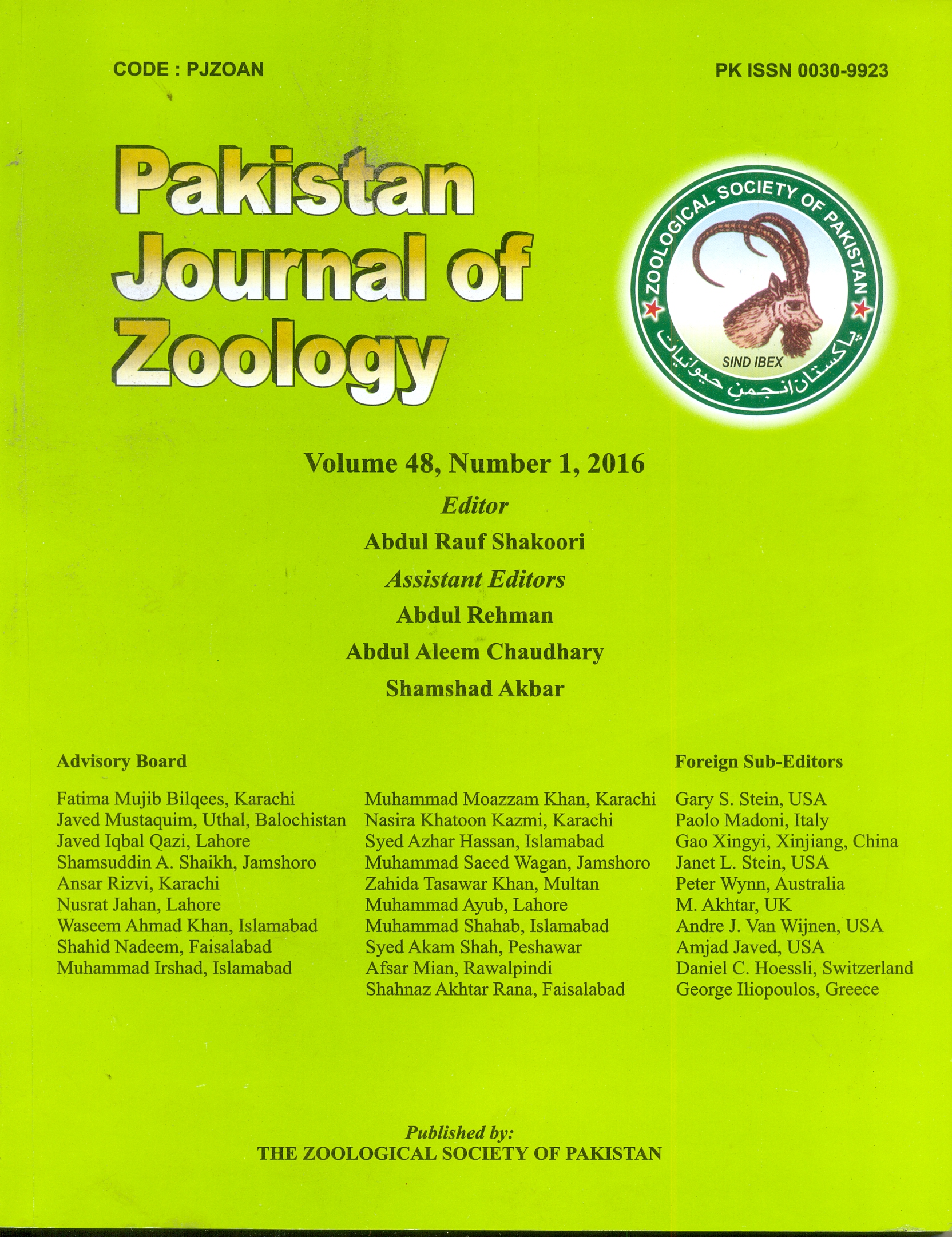 zoology research papers